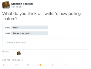 For the historical record, here's how my Twitter poll looked on the Twitter web site after 15 hours online