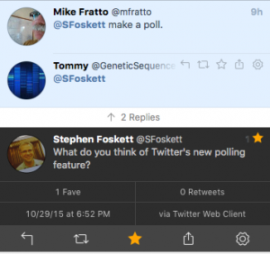 Here's how that same poll appears in the popular third-party client, Tweetbot. Note that there is no indication that I intended to tweet anything beyond the question.
